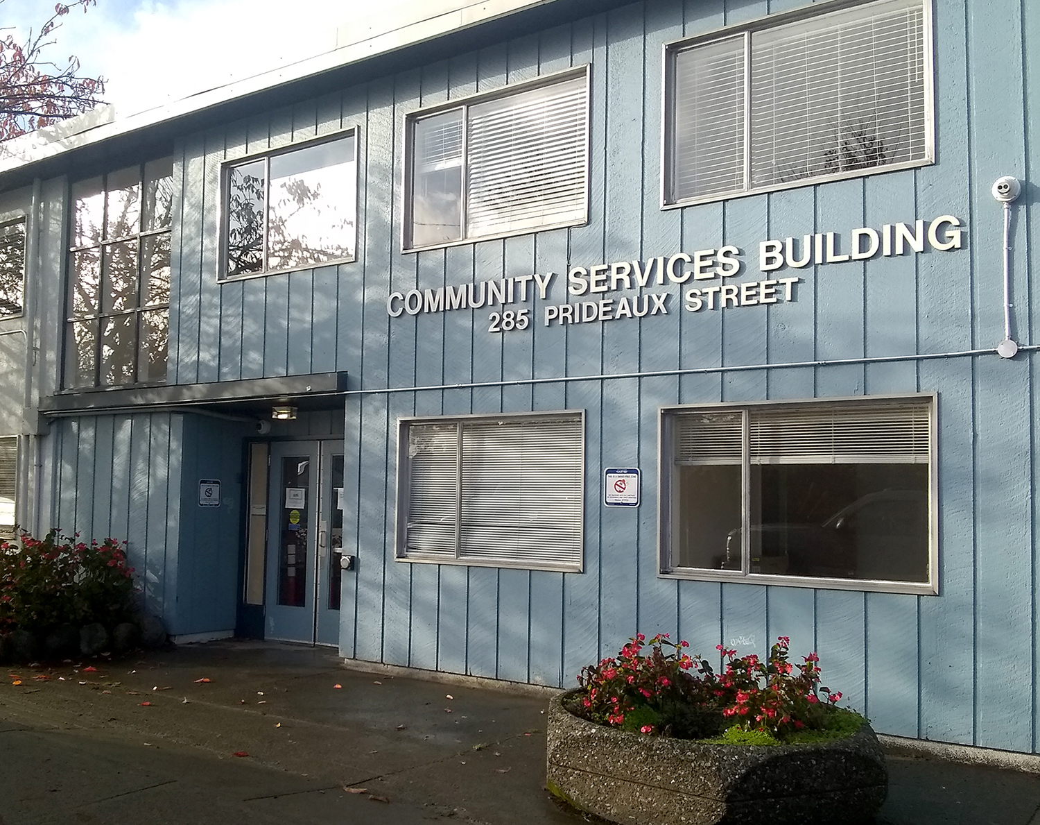 A community service building in light blue color located on Prideaux street